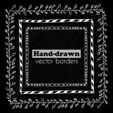 Hand drawn vector borders set Stock Photography