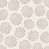 Hand drawn vector brown roses silhouettes seamless pattern on the beige background Royalty Free Stock Image