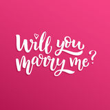 Hand drawn vector brush lettering Will You Marry Me?. Quote on pink gradient background Stock Photography