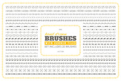 Hand drawn vector brushes with corner tiles. Set includes 22 brushes royalty free illustration