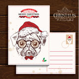 Hand drawn vector of bulldog with christmas Royalty Free Stock Photos