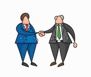 Hand-drawn vector businessman worker and boss shaking hands. Hand-drawn vector illustration businessman worker and boss shaking hands. Colored and black outlines vector illustration