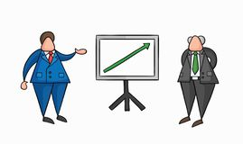 Hand-drawn vector businessman worker showing sales chart arrow moving up and boss is happy. Hand-drawn vector illustration businessman worker showing sales chart royalty free illustration