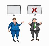 Hand-drawn vector businessman worker speaks with boss and boss rejects. Hand-drawn vector illustration businessman worker speaks with boss and boss rejects vector illustration