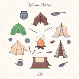 Hand drawn vector camping set with tents, bonfire, kettle, plates, cauldron and pan. Travel collection isolated on the beige background royalty free illustration