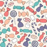 Hand drawn vector candies, canes and marshmallows seamless pattern on the beige background. Colorful holiday decoration Stock Photos