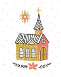 Hand drawn vector card with the Catholic temple and star of Bethlehem. Christmas print design. Stock Photos