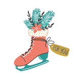 Hand drawn vector card with skate and  winter christmas bouquet. Christmas print design. Royalty Free Stock Images