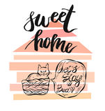 Hand drawn vector card template with sweet home quote handwritten lettering Stock Image