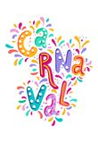Hand drawn vector Carnaval Lettering with Flashes of firework, colorful confetti. Festive title, headline banner. Hand drawn Carnaval Lettering. Festive badge