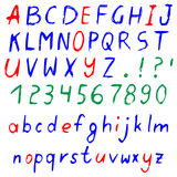 Hand drawn vector cartoon alphabet. Hand drawn colored alphabet, written cartoon font with capital and lowercase letters, also numbers and punctuation.  on white Royalty Free Stock Photos