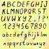Hand drawn vector cartoon alphabet. Hand drawn alphabet, written cartoon font with black capital and lowercase letters, also numbers and punctuation. Vector Royalty Free Stock Photos