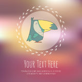 Hand drawn vector cartoon bird on blurred Stock Photography