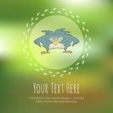 Hand drawn vector cartoon bird on blurred Stock Photos