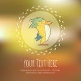 Hand drawn vector cartoon bird on blurred Stock Image