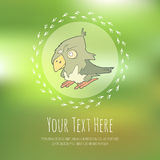 Hand drawn vector cartoon bird on blurred Royalty Free Stock Images
