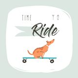 Hand drawn vector cartoon drawing summer time fun illustration poster with riding dog on skateboard and modern Royalty Free Stock Photo