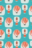 Hand drawn vector cartoon seamless pattern with lighthouse,hot air balloon and sea waves isolated on blue background vector illustration