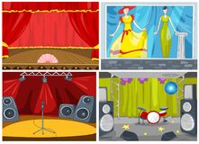 Vector cartoon set of theater and disco background Stock Photo