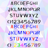 Hand drawn vector cartoon stencil alphabet. Hand drawn stencil alphabet, written stamp font with capital and lowercase letters, also numbers and punctuation in Stock Photo