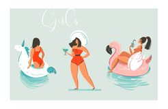 Hand drawn vector cartoon summer time fun beach girls collection illustration set with swimming pool float unicorn and Royalty Free Stock Photography
