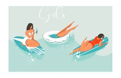 Hand drawn vector cartoon summer time fun beach girls collection illustrations set with retro surfer and sea yoga Royalty Free Stock Photos