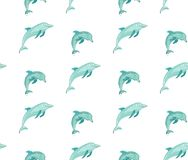 Hand drawn vector cartoon summer time seamless pattern with jumping dolphins in blue colors isolated on white background.  Royalty Free Stock Photography