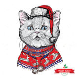 Hand drawn vector of cat with christmas Royalty Free Stock Image