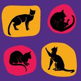 Hand Drawn Vector Cat Silhouette pattern royalty free illustration