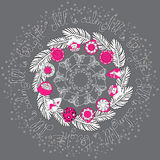 Hand drawn vector Christmas mandala with pine branches. Hand drawn vector Christmas ornamental mandala with pine  branches, balls and handwritten words All is Stock Image