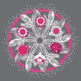 Hand drawn vector Christmas mandala with pine branches. Hand drawn vector Christmas ornamental mandala with pine  branches, balls. Template for invitation or Stock Photos