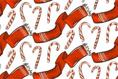 Hand drawn vector Christmas seamless pattern with winter clothing red scarf and sweer candy canes isolated on white. Backgroung.Merry Christmas and Happy New Stock Images