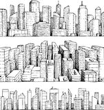 Hand drawn vector cityscape illustration Stock Images