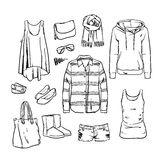 Hand drawn vector clothing and accessories. Hand drawning vector clothing and accessories Royalty Free Stock Image