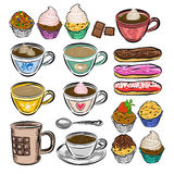 Hand drawn vector coffee set. Coffee cups and cakes. Royalty Free Stock Photography