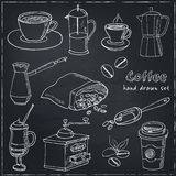 Hand drawn vector coffee set ingredients and devices for making. Stock Photography