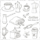 Hand drawn vector coffee set ingredients and devices for making. Stock Image