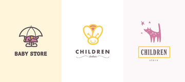 Hand drawn vector collection of baby logo. Kids fashion label design. Children clothes brand. Baby and kid store insignia Stock Images