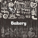 Hand drawn vector collection of baking goodies, sweets, cakes and pastries. Bakery Sketch Background for confectionery. Hand drawn vector seamless pattern stock illustration