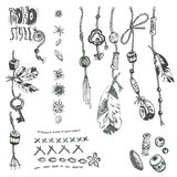 Hand drawn vector collection of boho elements: rope, beads, feat Stock Photos