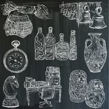 Bric a brac, objects - an hand drawn pack. Freehand sketching. V. An hand drawn vector collection. Bric a brac, OBJECTS. Line art techniques. Blackboard pack Stock Images