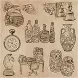 Bric a brac, objects - an hand drawn pack. Freehand sketching. V. An hand drawn vector collection. Bric a brac, OBJECTS. Line art techniques Stock Photos
