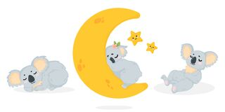 Free Hand Drawn Vector Collection Of Illustration With A Cute Sleeping Koala Bear In Cartoon Style. Set Of Funny Little Koala Bear Lyin Stock Images - 171315204