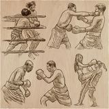 Box. Boxing Sport. Vector collection of boxing positions of some Royalty Free Stock Photo