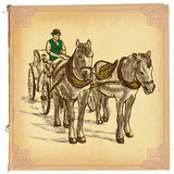 An hand drawn vector, colored line art - Horses Stock Photography