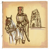 An hand drawn vector, colored line art - Knight Royalty Free Stock Photo
