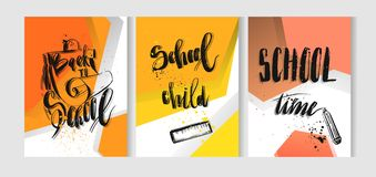 Hand drawn vector colorful back to school 3d card template Royalty Free Stock Photos