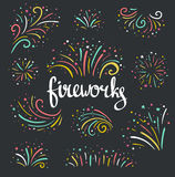 Hand drawn vector colorful Christmas fireworks on dark background. Royalty Free Stock Image