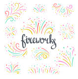 Hand drawn vector colorful Christmas fireworks on the white  background. Bright holiday design elements Royalty Free Stock Photography