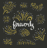 Hand drawn vector colorful fireworks on black background. Vector illustration Stock Images